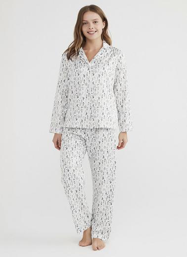 Penti Kadın Beyaz Dried Flowers Satin Pijama Takım PNTZ9D3021IY Beyaz